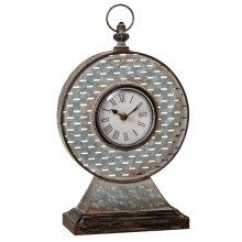 Round Galvanized Slot Mantel Clock