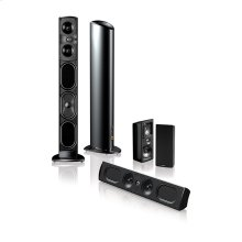 Five piece, 5.1 channel home theater speaker system with built-in powered subwoofers