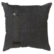 Antique Grey Canvas Pillow with Side Strap and Faux Leather Accents