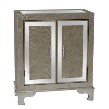 Diamond Silver Crocodile Pattern and Mirror 2 Door Cabinet
