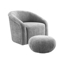 Boboli Grey Chenille Chair and Ottoman Set