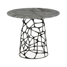 Circular outdoor coffee table with marble top