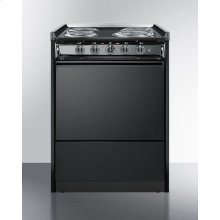 "Slide-in Electric Range In Slim 24"" Width With Black Porcelain Construction"