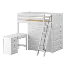 High Loft w/ Angle Ladder, 2 x5 Drawer Dressers & Desk : Twin : White : Panel