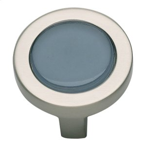 Spa Blue Round Knob 1 1/4 Inch - Brushed Nickel Product Image