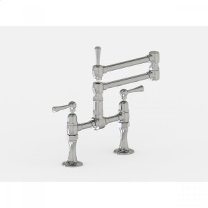 """Brushed Stainless - Deck Mount 17 3/4"""" Articulated Dual Swivel Spout with Metal Lever Product Image"""