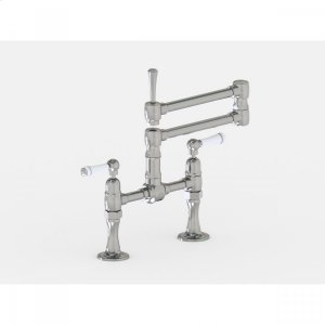 """Brushed Stainless - Deck Mount 17 3/4"""" Articulated Dual Swivel Spout with White Ceramic Lever Product Image"""