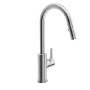 Edge Single-lever kitchen faucet with swivel spout and pull-down spray, stainless steel finish Product Image