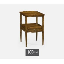 Country Walnut Square Lamp Table with Drawer