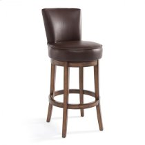 """Armen Living Boston 26"""" Counter Height Swivel Wood Barstool in Chestnut Finish and Kahlua Pu Product Image"""