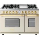 Range DECO 48'' Classic Cream matte, Gold 6 gas, griddle and 2 gas ovens Product Image