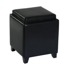 Rainbow Contemporary Storage Ottoman With Tray in Black Bonded Leather