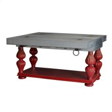 Tin Topped Small Kitchen Island with Fluted Leg