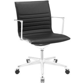 Vi Mid Back Vinyl Office Chair in Black