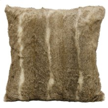 AZTEC SQUARE PILLOW- TAUPE CREAM  Faux Fur  Down Feather Insert