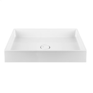 Countertop or undermount washbasin sink in European White Ceramic, without overflow waste Product Image