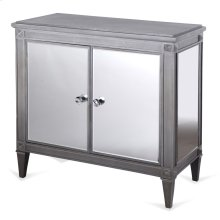Weathered Grey Wood and Mirrored Cabinet  34in X 36in X 18in  Two Door Cabinet