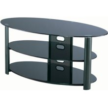 "3-tier TV Stand, Black Chrome/black Glass, 50""lx20""wx23""h"