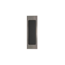 Rectangle Flush Pull Recess Leather In Black Tea And Vintage Nickel