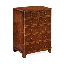 Bow Front Walnut Chest of Six Drawers