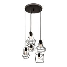 5 Light Pendant in Black Finish