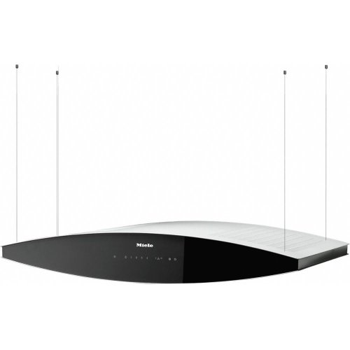DA 7000 D Aura AM Island décor hood with dimmable halogen lighting and touch controls for convenient operation.