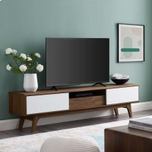 "Envision 70"" Media Console Wood TV Stand in Walnut White"