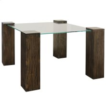 KOBE DINING TABLE- SMALL SQUARE  Vintage Iron Finish on Wood Legs with Floating Glass