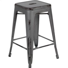 "Commercial Grade 24"" High Backless Distressed Silver Gray Metal Indoor-Outdoor Counter Height Stool"