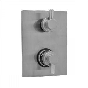 Antique Brass - Rectangle Plate with Contempo Short Peg Thermostatic Valve with Contempo Short Peg Built-in 2-Way Or 3-Way Diverter/Volume Controls (J-TH34-686 / J-TH34-687 / J-TH34-688 / J-TH34-689) Product Image