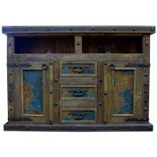 Turquoise Copper TV/Dresser W/Doors