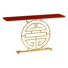 Gilded iron console table in Emperor dark red