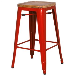 Metropolis Backless Counter Stool Wood Seat, Red