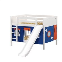 Low Bunk Bed with Straight Ladder and Slide : Full : White : Panel