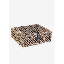 (LS) Decorative rattan Box - Natural Brown (12x10x4)