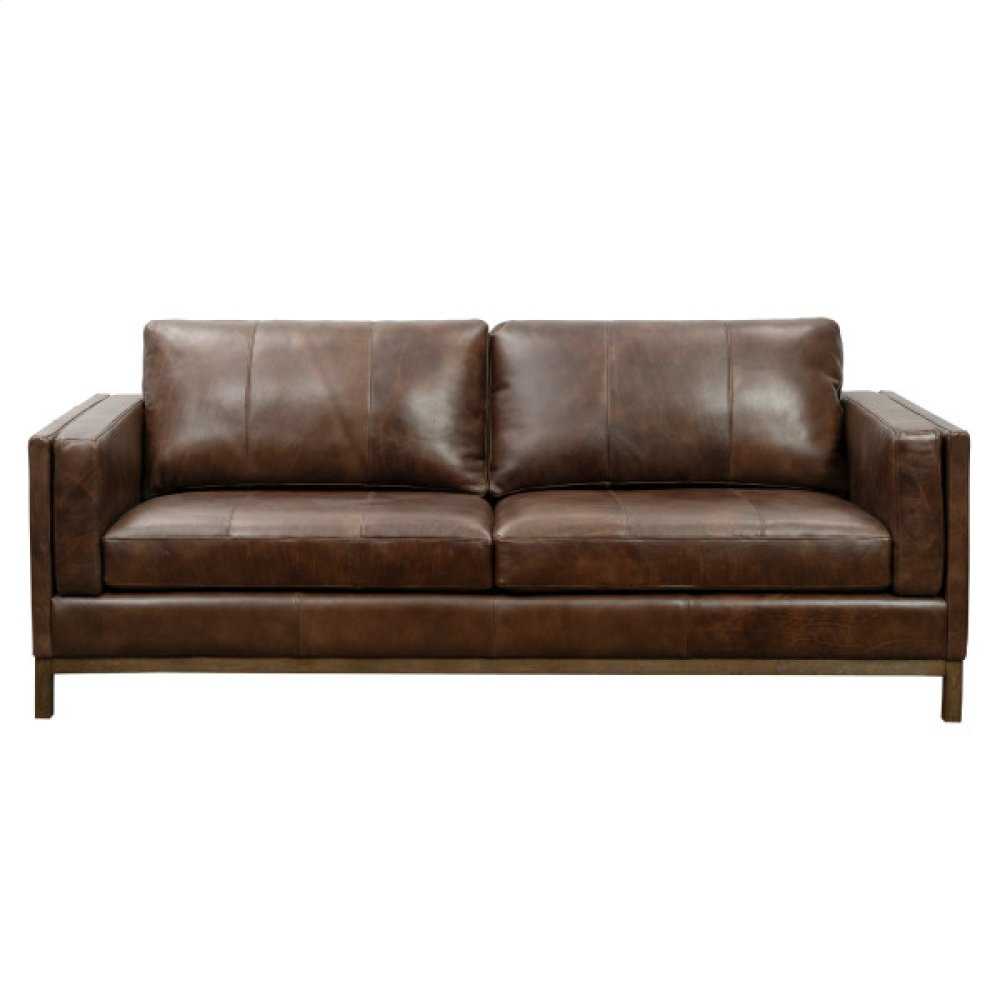 Drake Leather Sofa with Wooden Base in Brown