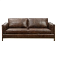Drake Leather Sofa with Wooden Base in Brown Product Image