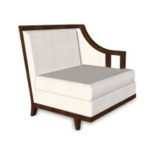 """29"""" Walnut & Tan Rattan Left One-Seat Sofa Sectional, Upholstered in COM"""