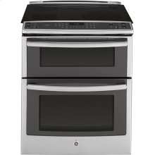 """Floor Model - GE Profile Series 30"""" Slide-In Front Control Double Oven Electric Convection Range"""