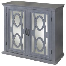 Sea Grit  36in X 16in X 34in  MDF frame has two mirrored doors with oval grill overlays. Full retu
