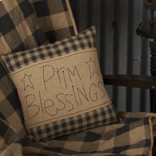 Black Check Prim Blessings Pillow 12x12