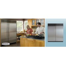 """72"""" Refrigerator Freezer - 72"""" Marvel Side-by-Side Combination Refrigerator Freezer - 30"""" Refrigerator/18"""" Dual Zone Wine Cooler/24"""" Freezer with White/black/white Interior and Stainless Steel Doors"""