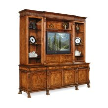 Large Breakfront Walnut TV Cabinet