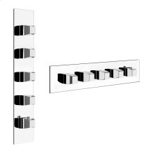 """SPECIAL ORDER TRIM PARTS ONLY External parts for thermostatic with 4 volume controls Single backplate High capacity 3/4"""" connections Vertical/Horizontal application Anti-scalding Requires in-wall rough valve 39699"""