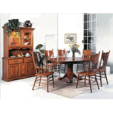 Oak China Hutch 2bs/gls Light