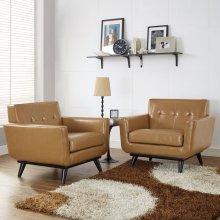 Engage Leather Sofa Set in Tan