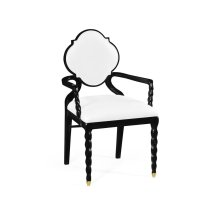 Black Barleytwist Dining Armchair, Upholstered in COM