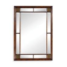 Rectangular Walnut Panelled Mirror with Brass Details