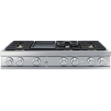 "Modernist 48"" Rangetop, Silver Stainless Steel, High Altitude Liquid Propane"