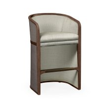 Walnut & Dark Grey Rattan Tub Bar Stool, Upholstered in Standard Outdoor Fabric